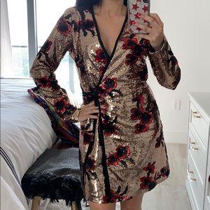 Zara Gold Floral Sequin Mini Wrap Dress